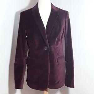Boden burgundy velvet blazer